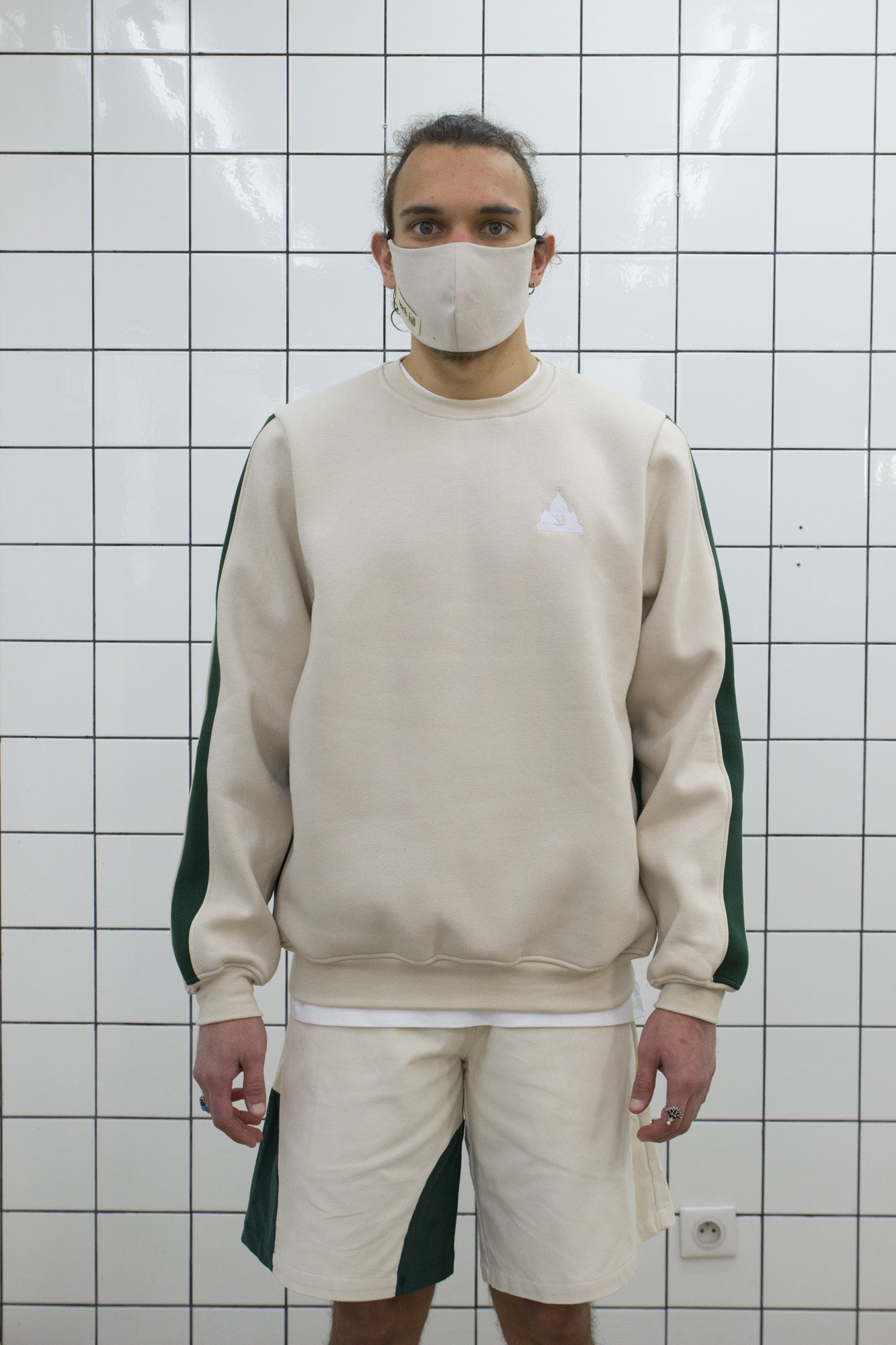 Beige Colorblock Crewneck