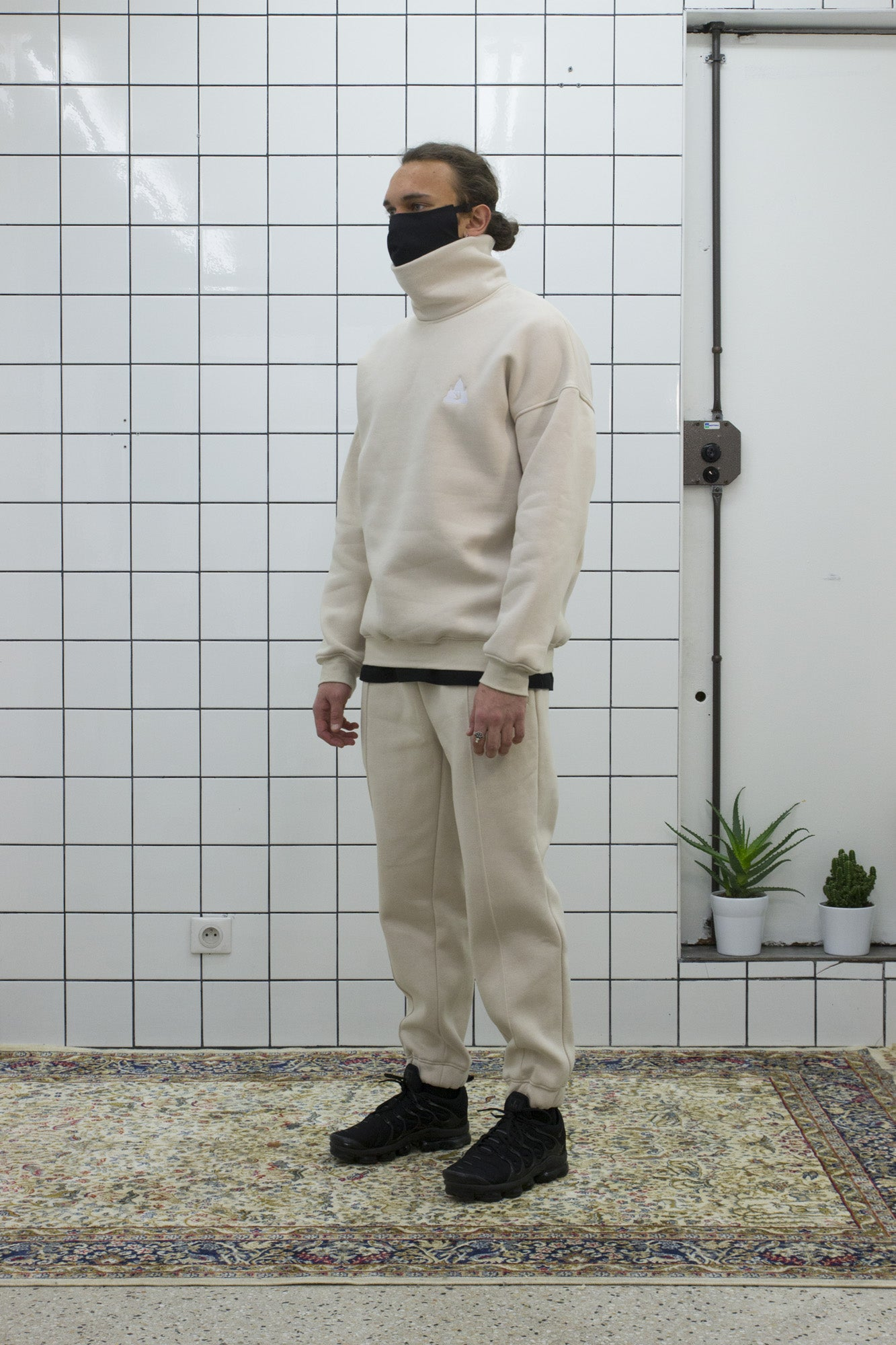 Beige Logo Turtleneck