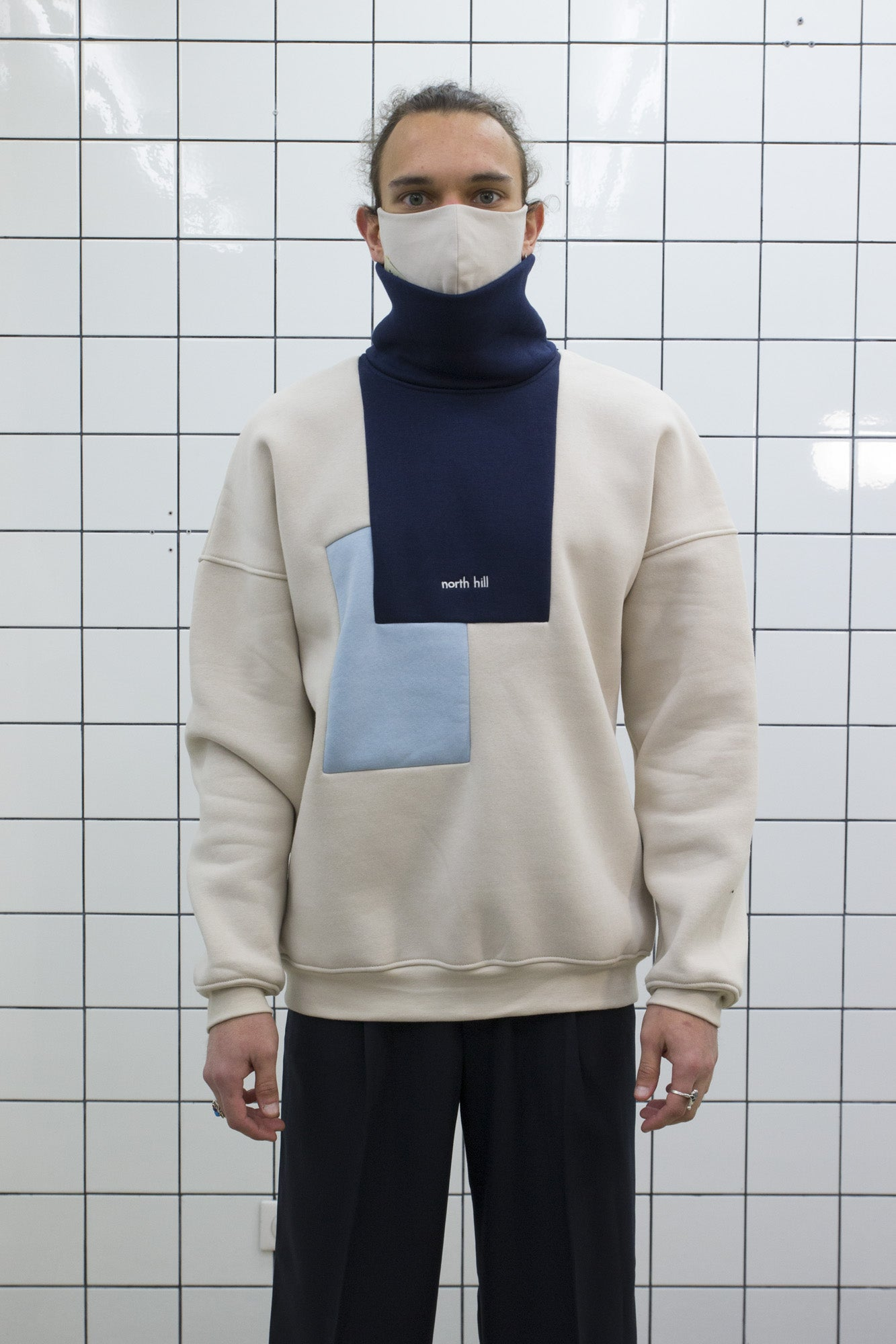 Blue Colorblock Turtleneck