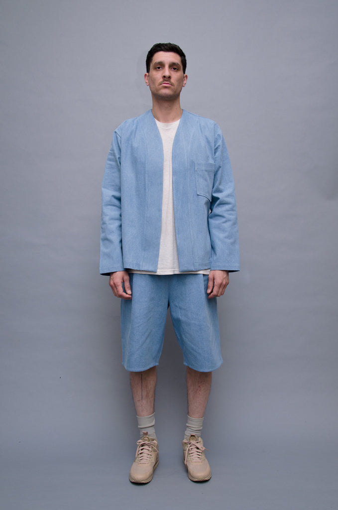 The North Hill Artist's Kimono is a made in France denim top.