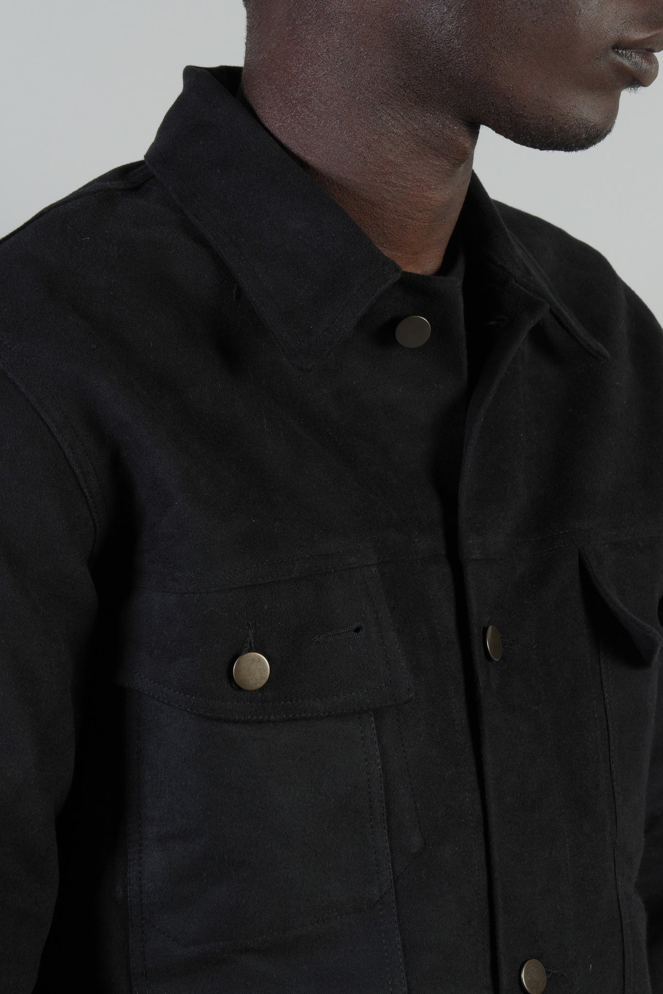 BUTTON-UP JACKET MOLESKINE BLACK