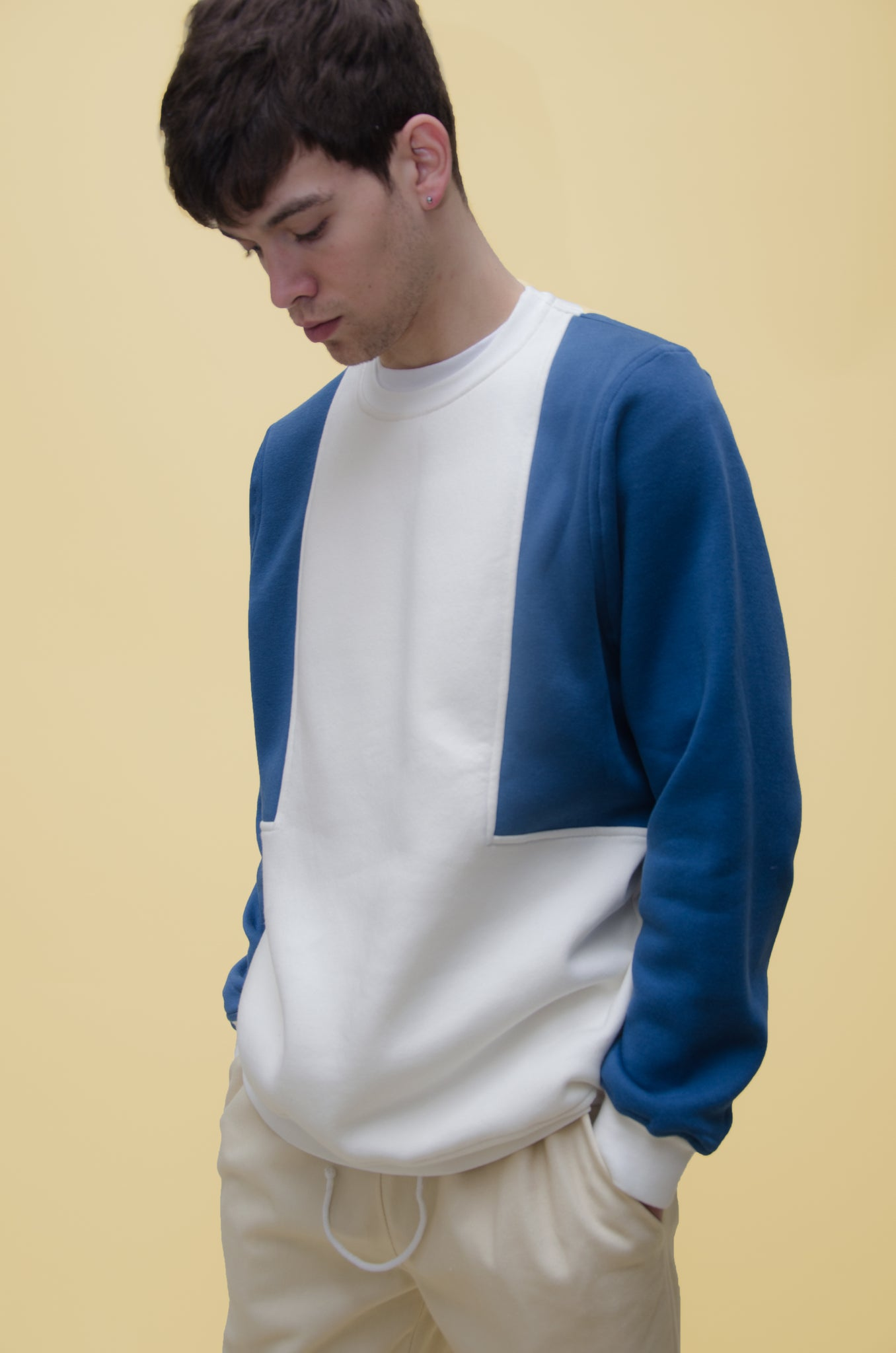 The North Hill Colorblock Crewneck is a made in France zipped sweatshirt