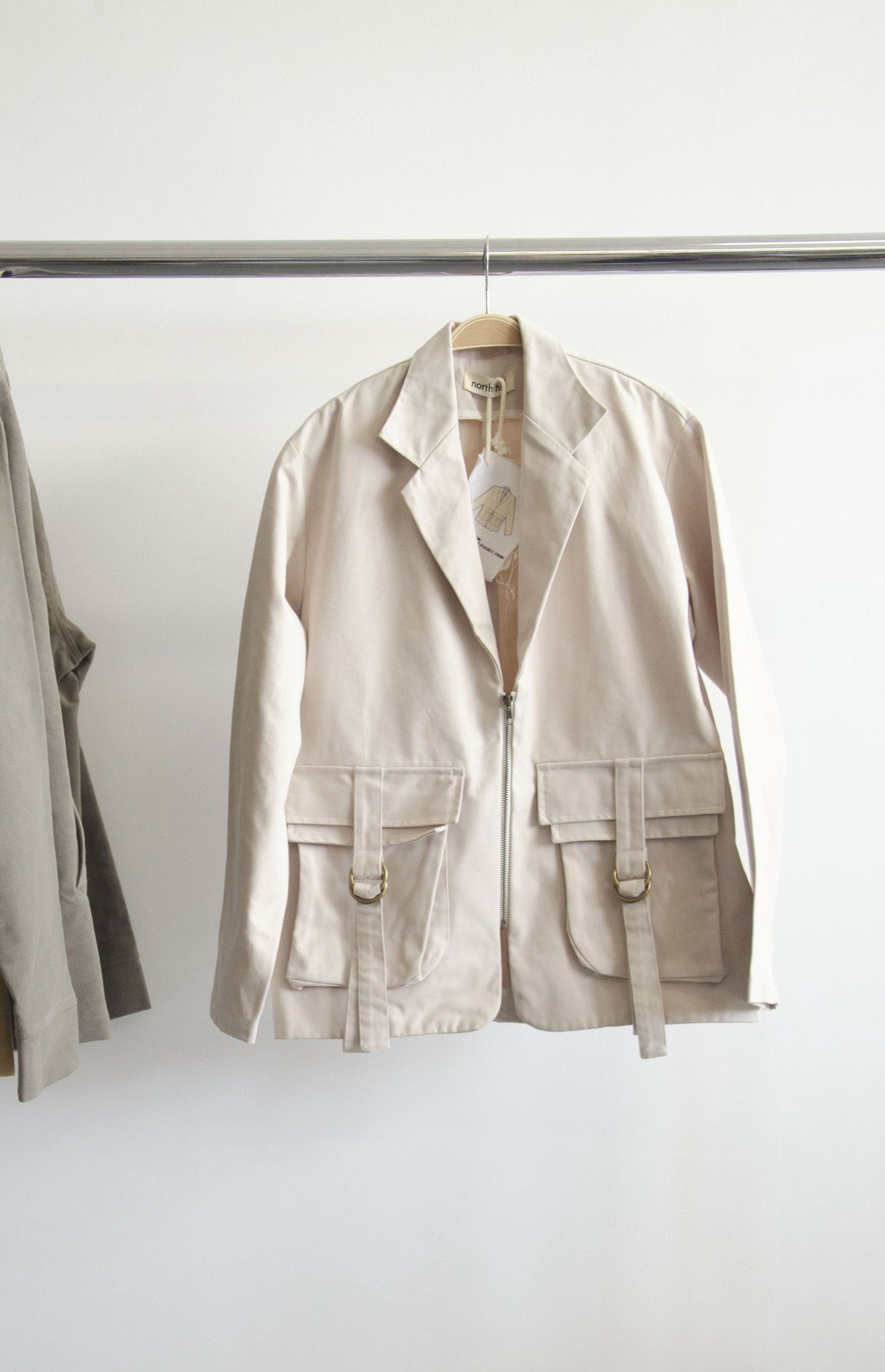 Beige Zip Blazer SS20 - SAMPLE - MEDIUM