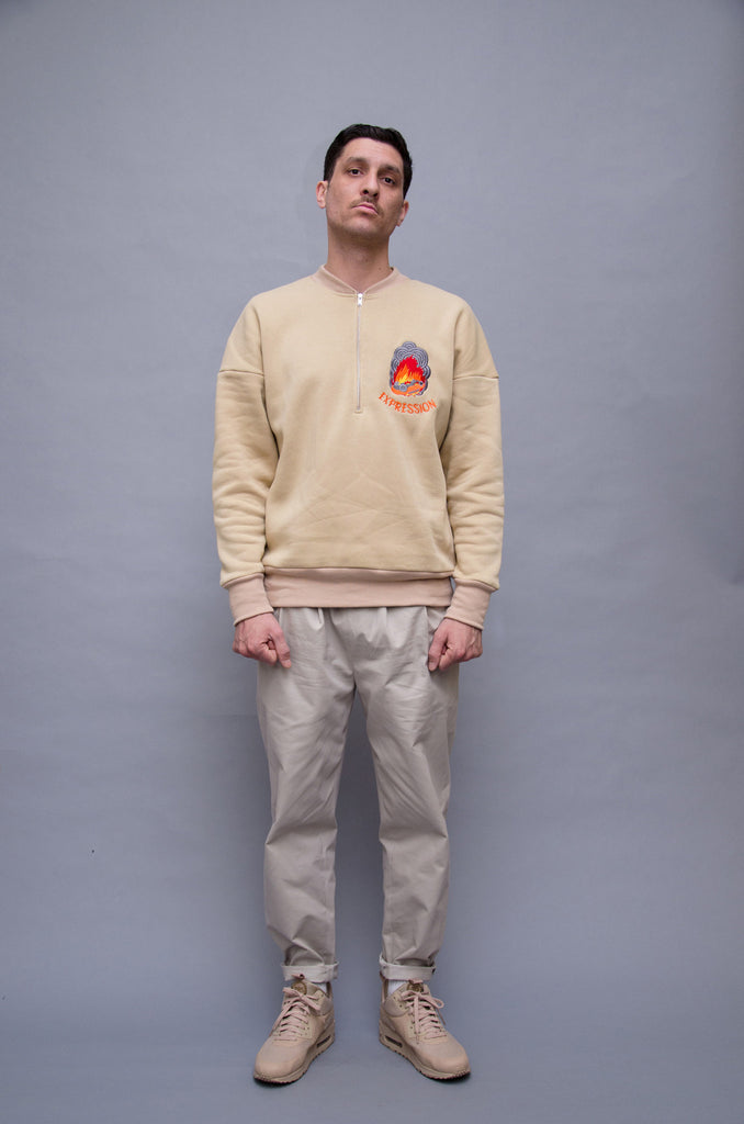 Burnacar Zipped Crewneck