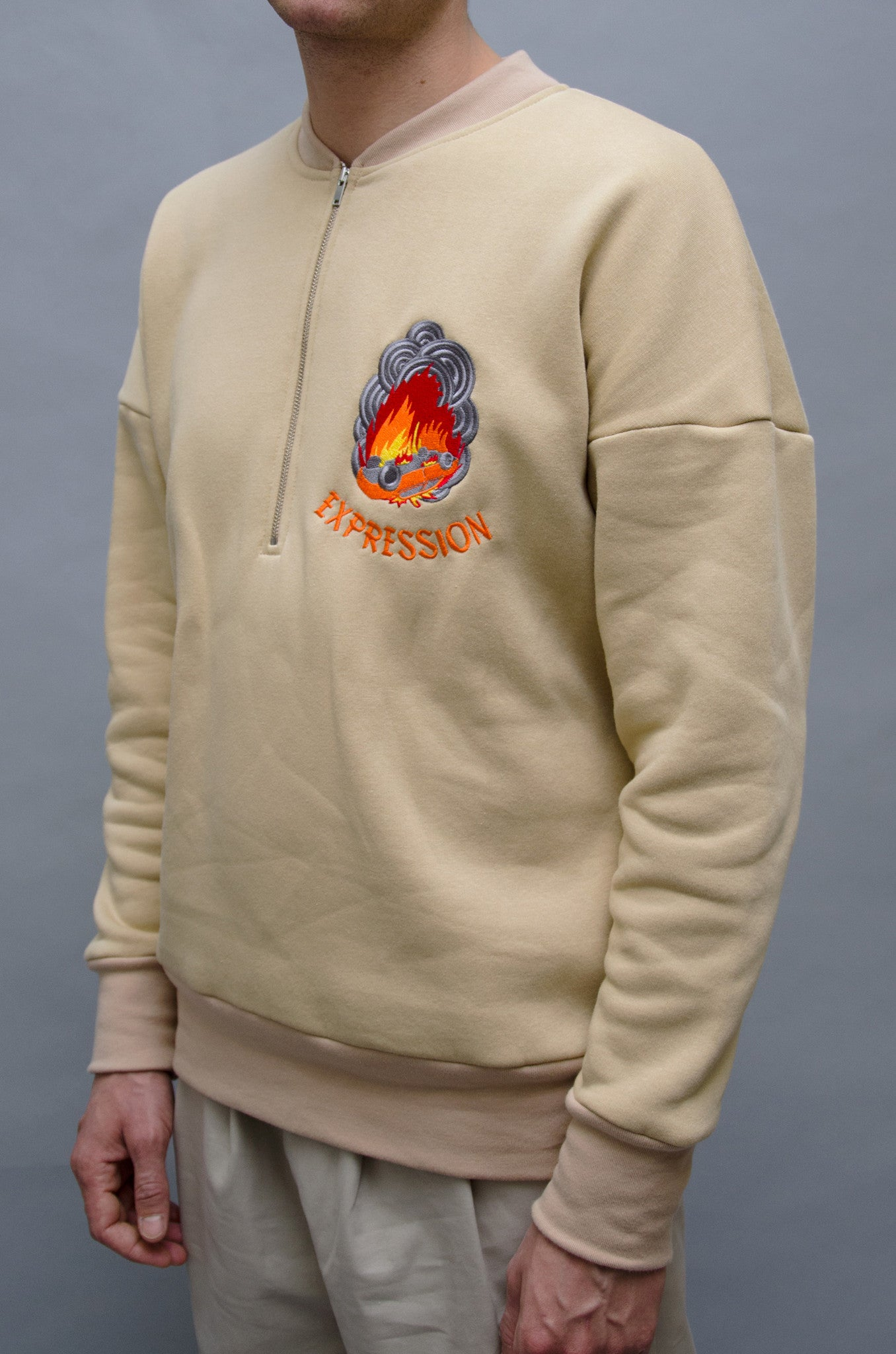 The North Hill Burn-A-Car Zipped Crewneck is a made in France zipped sweatshirt