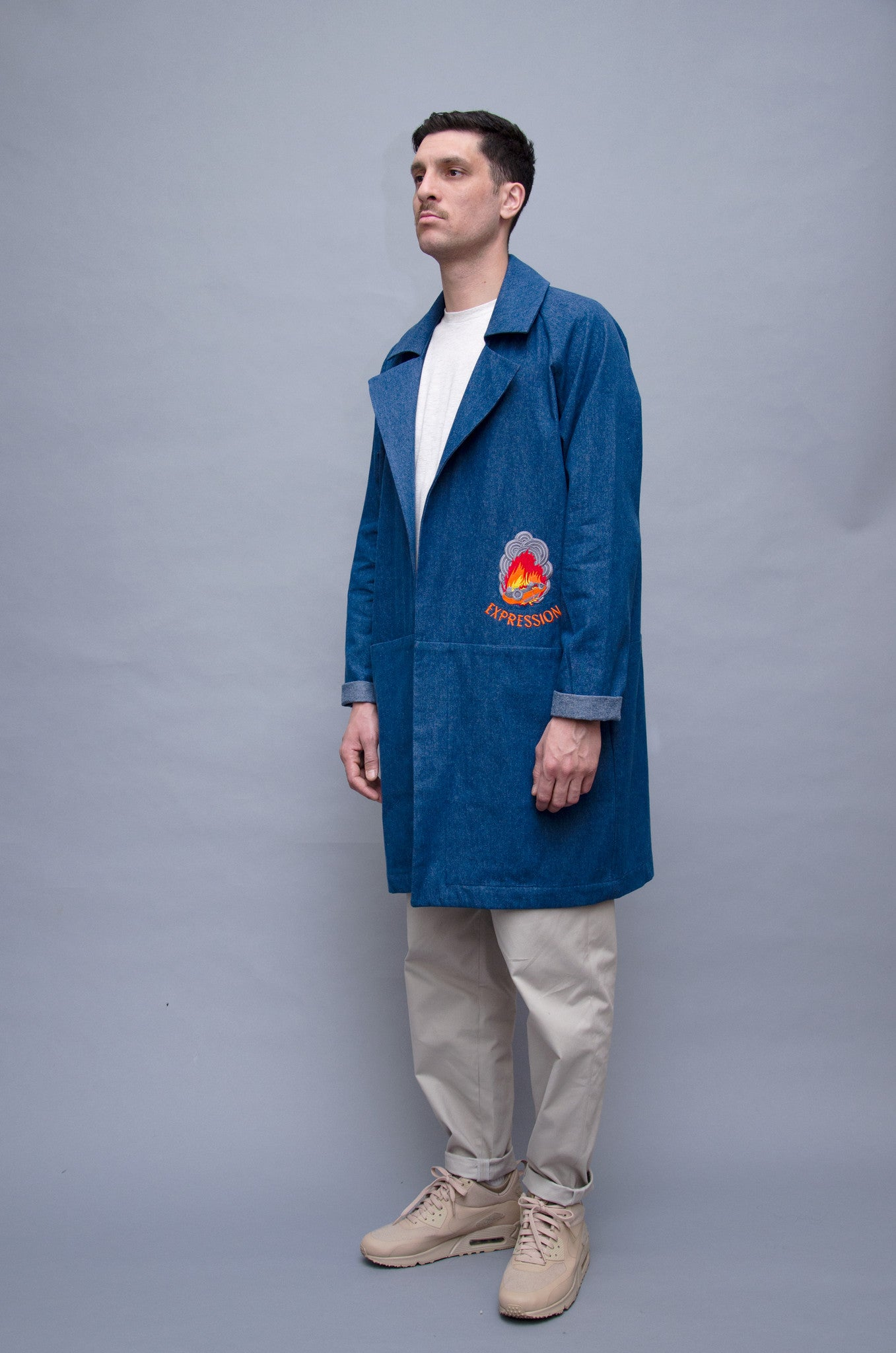 The North Hill Denim Burn-A-Car Jacket is a made in France jacket