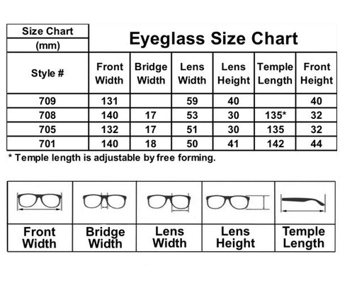 Eye Glass Size Chart