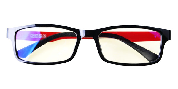 Blue Light Blocking Glasses, Help Prevent Macular Degeneration, Black/Clear Red Style 708, From EYES PC
