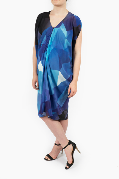Maternity Breastfeeding Nursing Dress in Blue Cube Print
