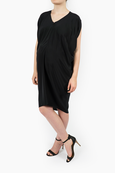 Maternity Breastfeeding Nursing Dress in Essential Black