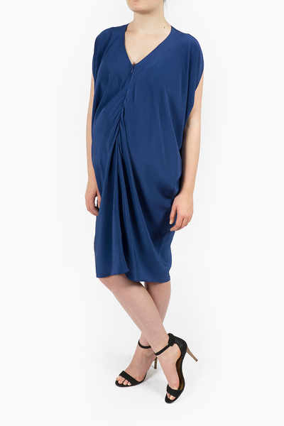Maternity Breastfeeding Nursing Dress in Indigo Blue