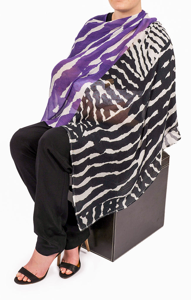 The Cashmere Peek Nursing Poncho - Purple Herringbone Print
