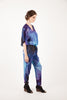 Maternity Breastfeeding Nursing Jumpsuit in Blue Cube
