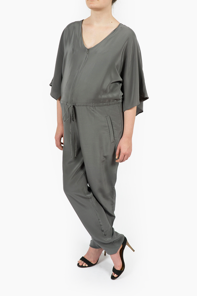 Maternity Breastfeeding Nursing Jumpsuit in Nimbus Gray