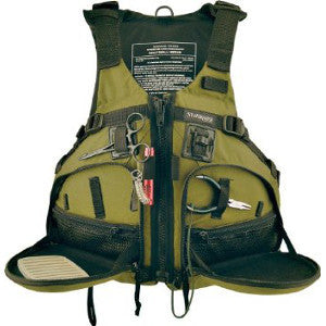 Stohlquist Fisherman PFD S/M green only, 50% off Close-Out model