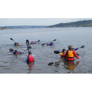 kids swimming in dry suits