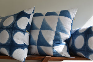 Indigo dyed linen throws, pillows and runners by ANTIPOD WORKSHOP at Switzer Cult Creative, Vancouver