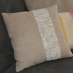 Linen pillow printed by workshop participant Carla Trevisi