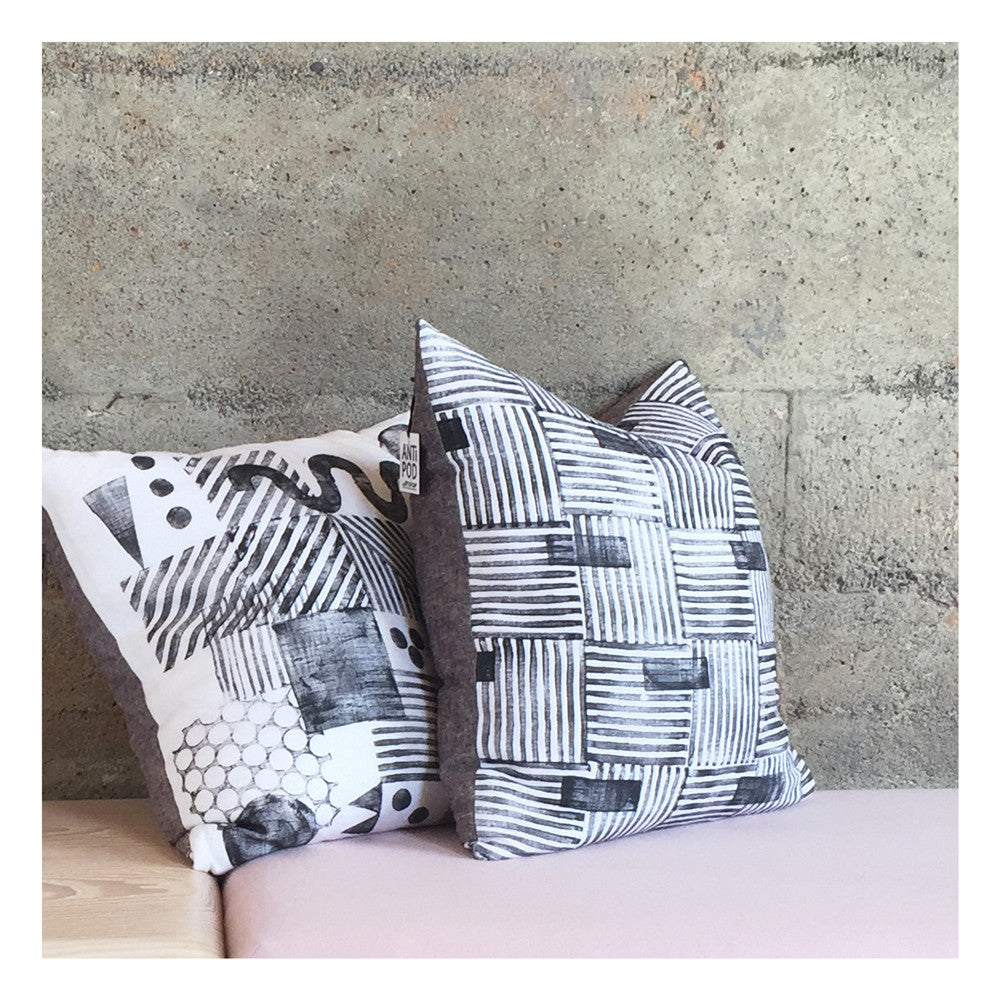 Hand block printed linen pillow - blocked basketweave and constructivist