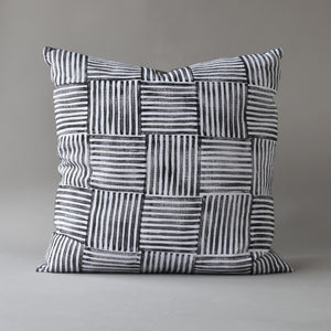 Hand block printed linen pillow - basketweave