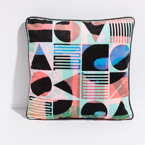 Mint/Pink/Salmon Printed pillow: Bauhaus Hustle 1.0