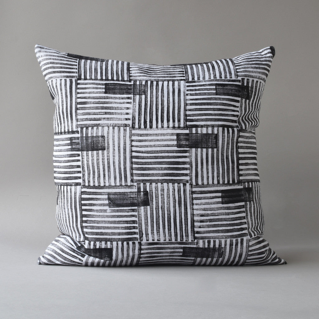 Hand block printed linen pillow - blocked basketweave