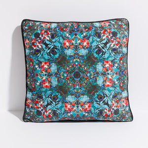 Printed pillow: turquoise/red digital floral design