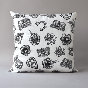 Hoodoo White | 26 inch sq pillow with linen back from the LEXICON collection by ANTIPOD