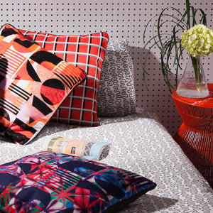 Navy/Red Printed pillow: Bauhaus Disco 2.0