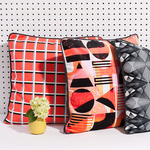Orange/Pink Printed pillow: Bauhaus Hustle 2.0