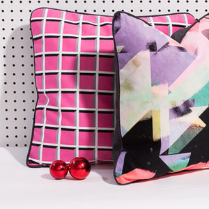 Printed pillow: Pixelshift 2.0 - pink/grey/green