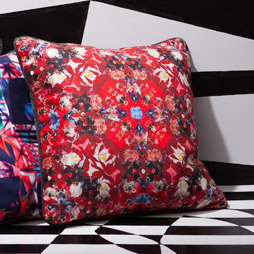 Printed pillow: red digital floral design