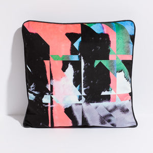 Printed pillow: salmon/black/green/grey PixelShift design