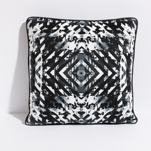 Printed pillow: black and white target design