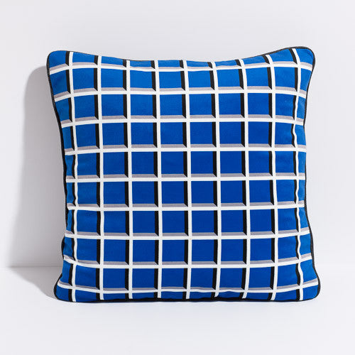 Printed pillow: cobalt grid design