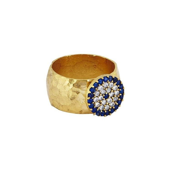 Secret Halo - Secret Halo - Ottoman Hands - evil eye hammered gold chunky statement ring