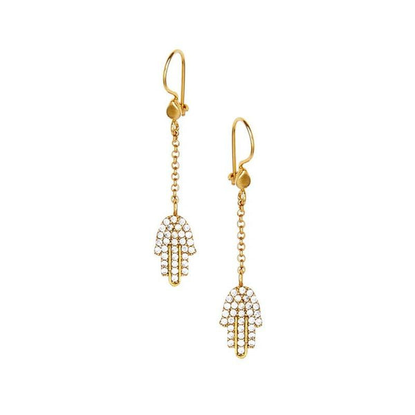 Secret Halo | Ottoman Hands hamsa hand earrings gold plated with cubic zirconia