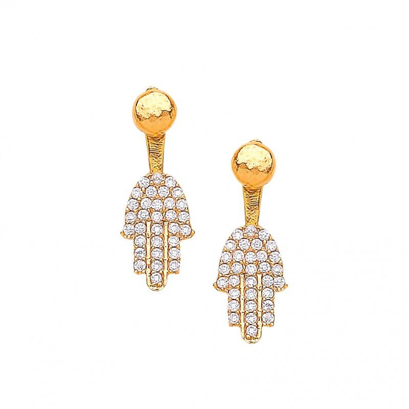 Ottoman Hands designer jewellery at Secret Halo | hand of fatima hamsa hand earrings swing backs