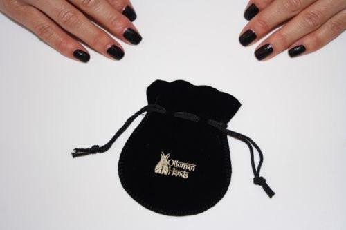 Secret Halo Ottoman Hands gift bag black velvet branded