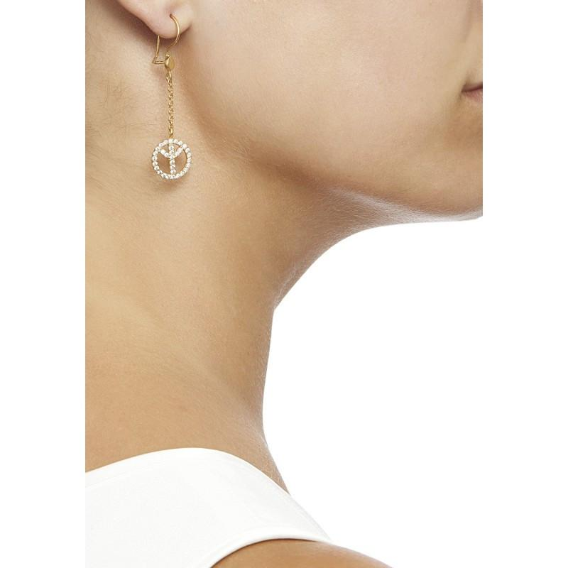 Secret Halo | Ottoman Hands peace earrings gold plated with cubic zirconia | side profile of model