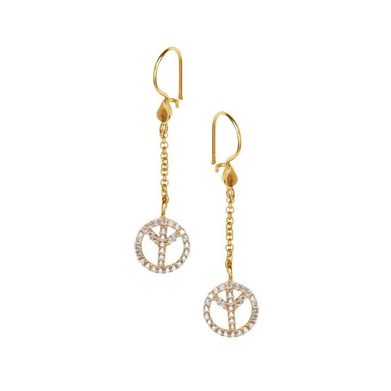 Secret Halo | Ottoman Hands peace earrings gold plated with cubic zirconia