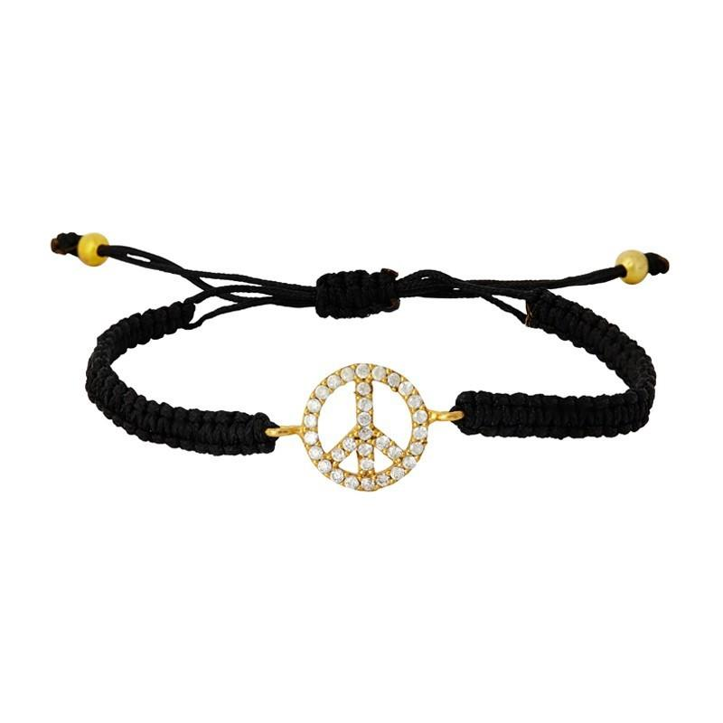 Peace sign friendship charm bracelet black by Ottoman Hands available at Secret Halo