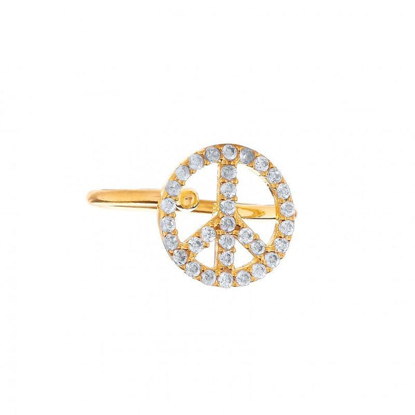 Ottoman Hands Simple Peace Symbol Ring at Secret Halo Jewellery | gold plated with cubic zirconia
