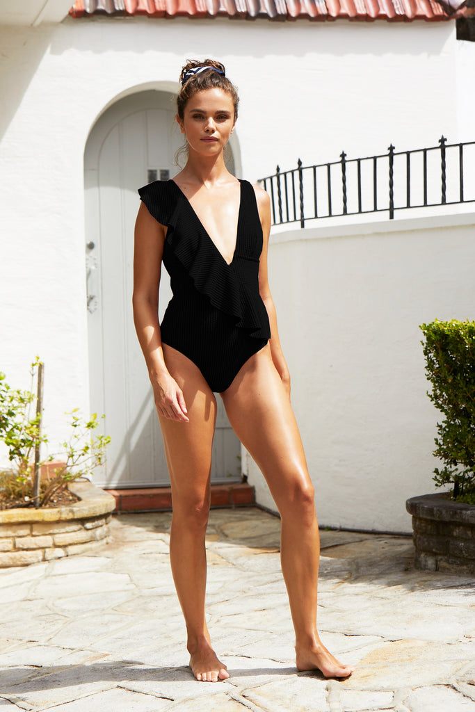 Bella Frill One Piece Suit | Ebony