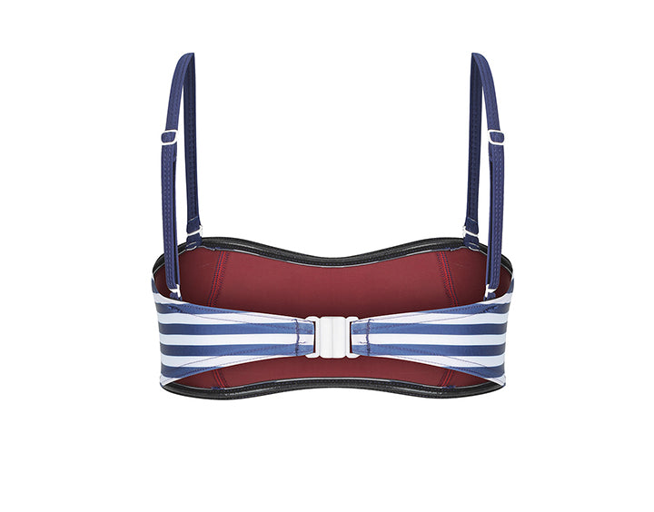 Claudia Bandeau Top | Indigo & White Stripe