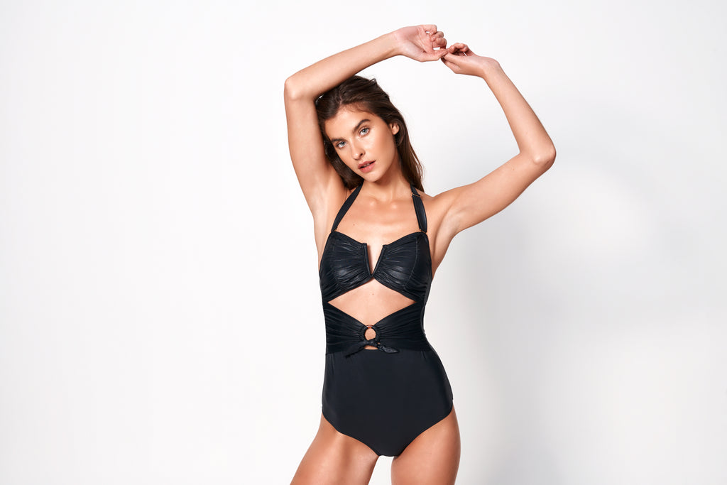 Fleur Ruched Waist Tie One Piece | Black