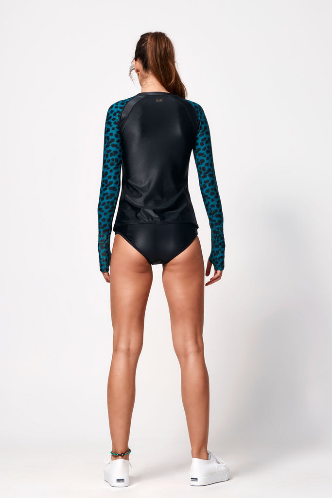 Océane Long Sleeve Rash Top | Black & Leopard Teal