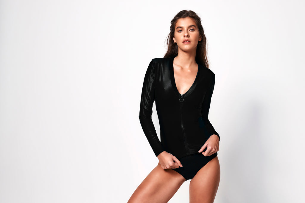 Océane Long Sleeve Plunge Rash Top | Black
