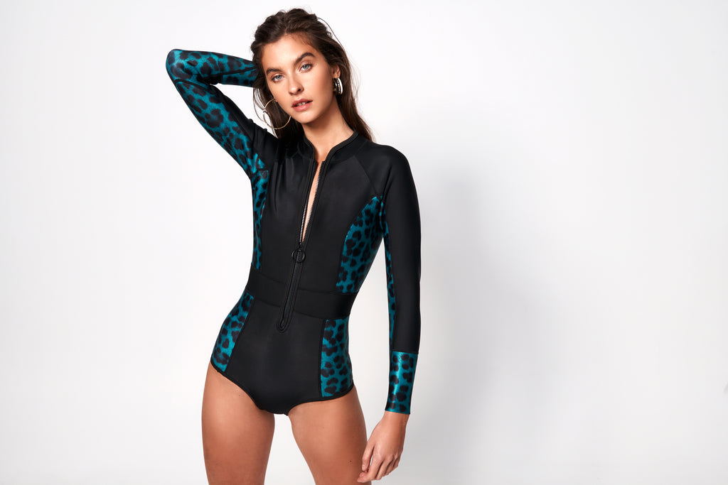 Océane Long Sleeve Suit | Black & Leopard Teal
