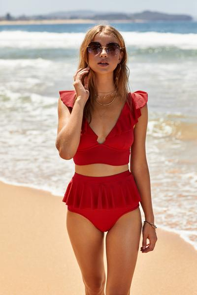 Cancun Frill Bottoms | Cherry Red